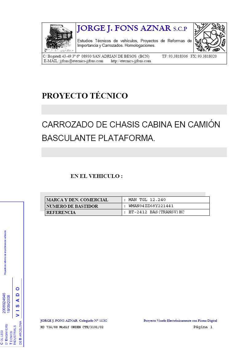Ejemplos de Proyectos Técnicos de Vehículos   Jorge J. Fons Aznar ...